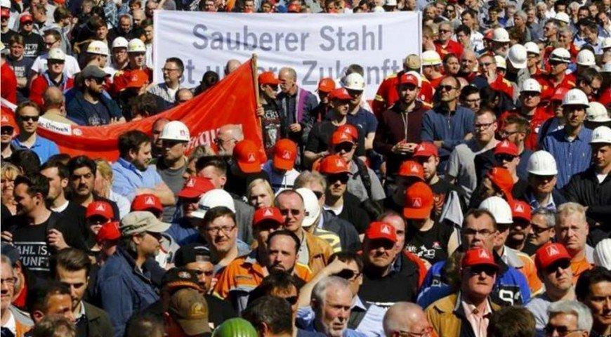 คนงานเหล็กเยอรมนีประท้วงต้านสินค้าราคาถูกจากจีน